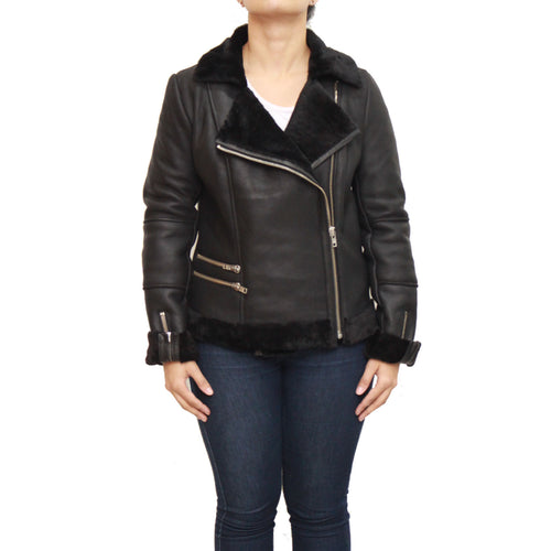 Womens classic B3 Aviator / Airforce sheepskin leather winter jacket
