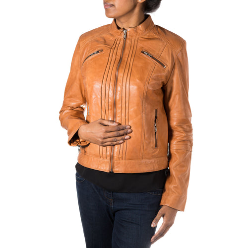 Womens biker jacket with vertical ribbed design.