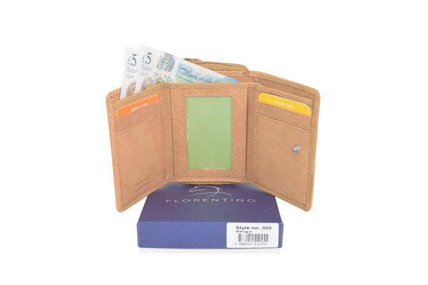 Leather wallet with card holder and purse compartments