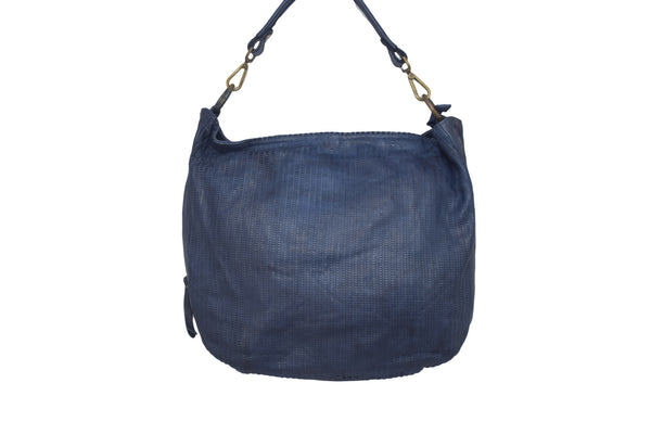 Navy blue leather bucket cross body bag with zipped fastening