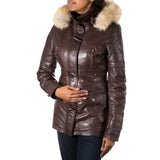 Womens Leather Hooded Duffle Coat with Horned Toggle Buttons
