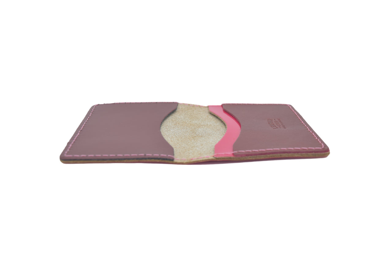 Fuschia Pink Unisex Handmade Oyster Travel Card Holder Wallet ID in Leather, Cowhide, Nubuck and Suede