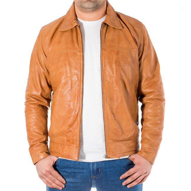 Mens leather fitted jacket with shirt collar and zip fastening available in Suede or Waxed Leather finishing