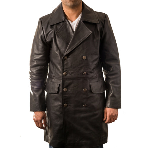 A black german major military style cowhide double breasted coat. Available in two lengths.
