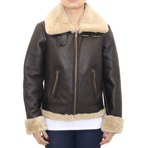 Ladies B3 Brown and Cream Sheepskin Aviator Biker/Bomber Jacket