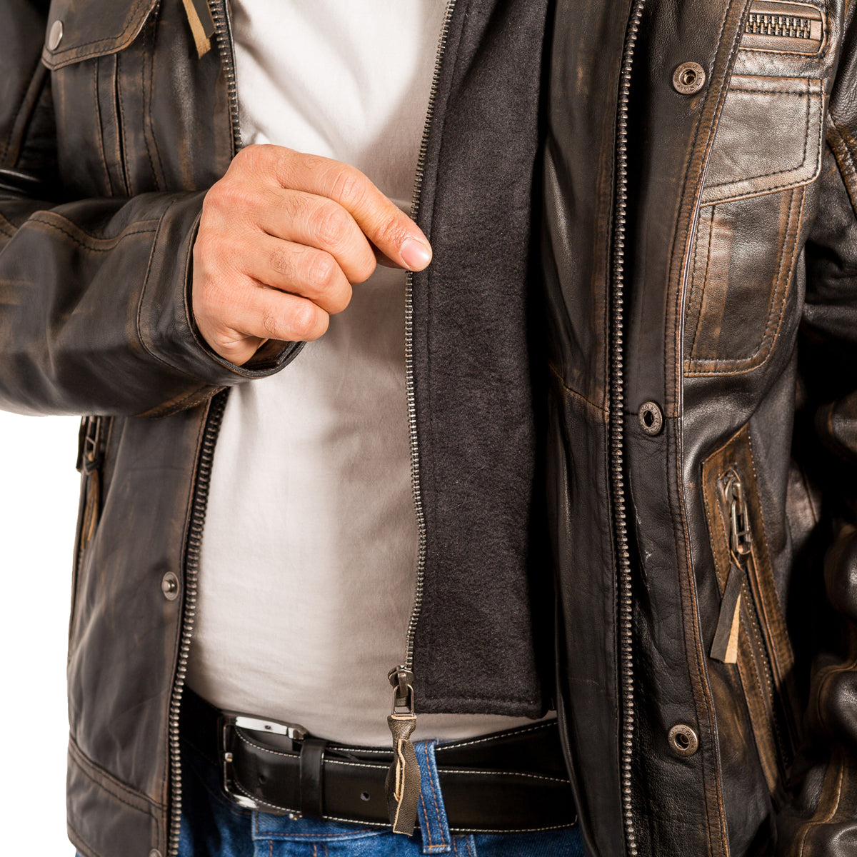 Mens distressed leather vintage rub-off leather jacket available in Black or Brown
