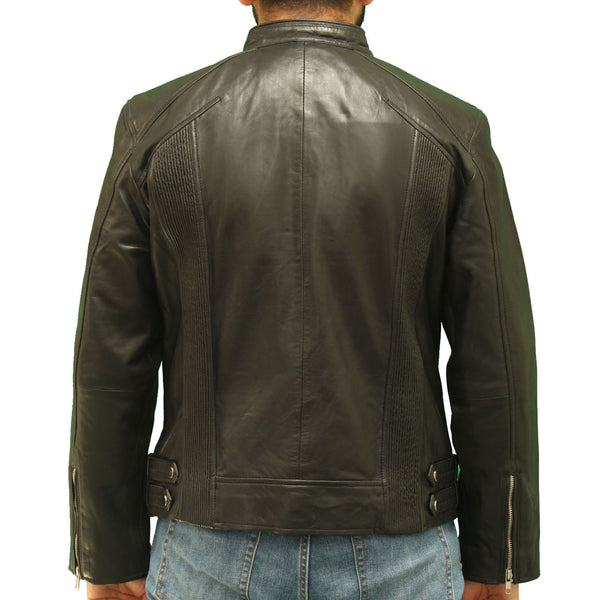 Mens Real Leather Black Biker Jacket with tab Collar Fastening and Ribbing
