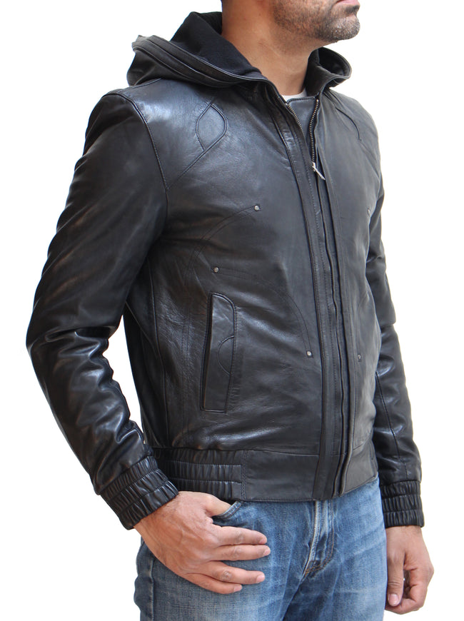 Mens Leather Hooded Urban Street wear Style Jacket. Available in Black and Olive Wood Brown