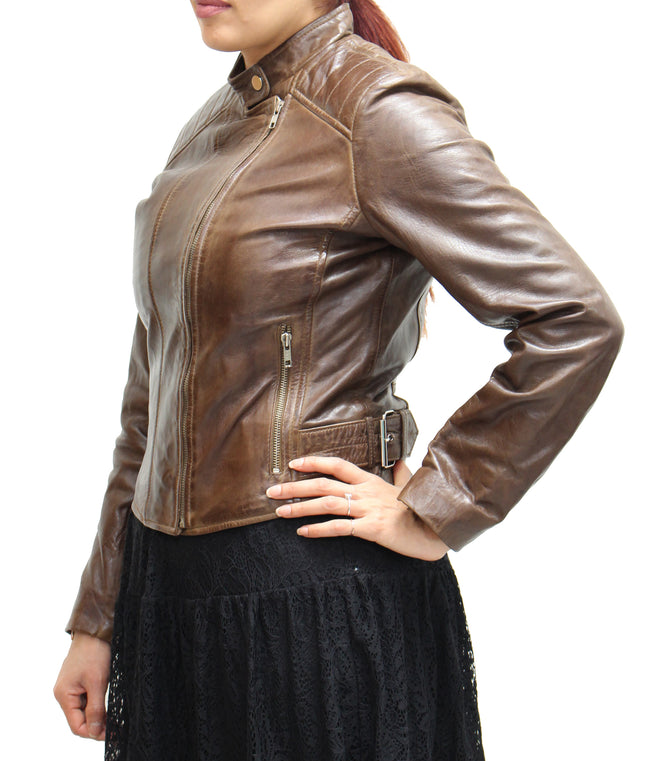 Womens Real Leather Side Zip Fitted Biker Jacket Rib Stitching on Shoulders. Available in Black, Navy and Brown