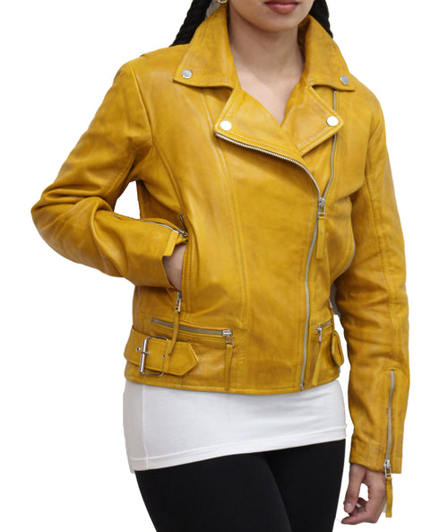 Womens Real Leather Classic Brando Style Biker Jacket Available in Black, Yellow and Chestnut Brown