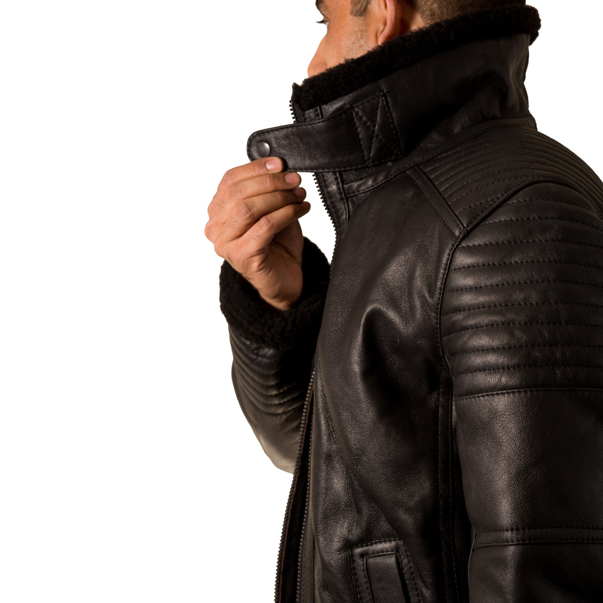 718acd158 Mens sheepskin quilted fitted warm flying short bomber jacket.