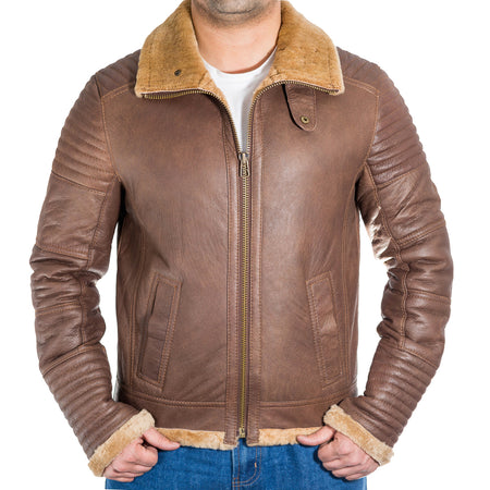 Mens classic vintage bomber hooded jacket with heavy nappa leather finishing.