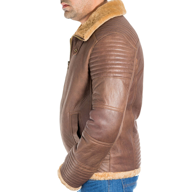 Mens sheepskin quilted fitted warm flying short bomber jacket. Available in Black and Brown