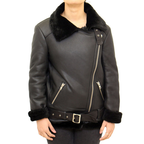 Womens classic B3 Aviator / Airforce sheepskin leather winter jacket with side zip and belt