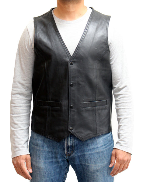 Mens Real Cowhide Leather Black Smart Four Button Popper Waistcoat