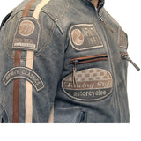 Mens racing biker jacket with badges and stripes in distressed leather finishing