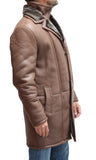 Luxurious mens sheepskin winter long coats with double collar available in black or brown