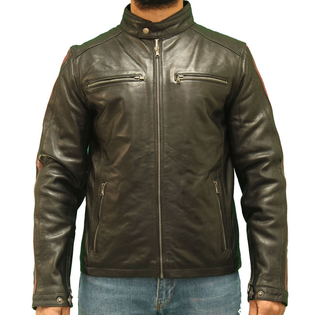 Men's leather biker jacket with a racing stripe down each sleeve.