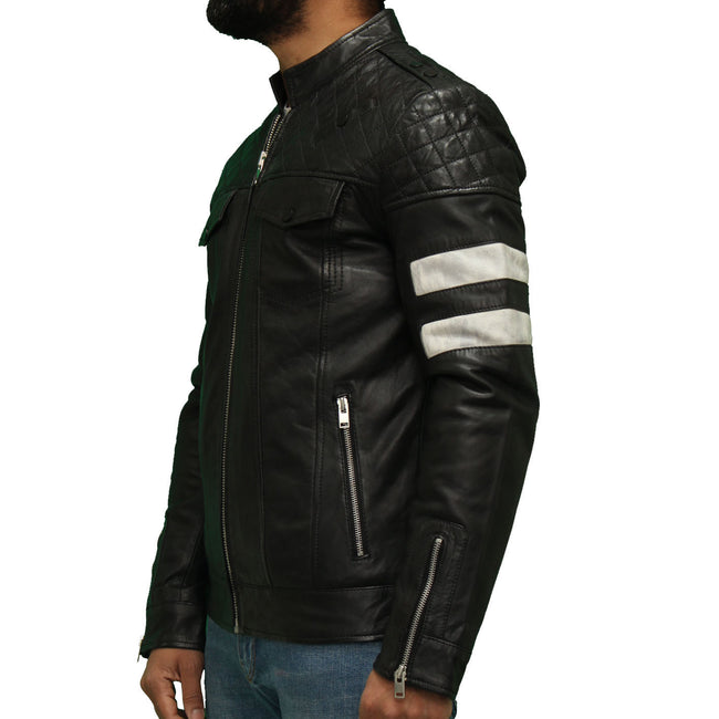 Men's quilted short  biker jacket with two accent stripes on sleeve