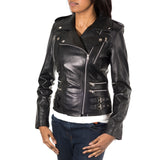 Womens Brando style Rock chick cross zip biker jacket with buckles and stud buttons.