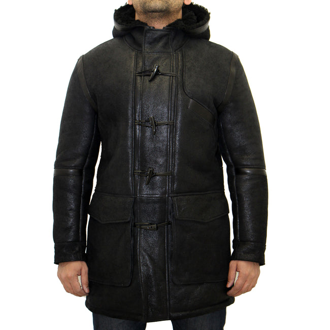Mens black with black sheepskin hooded duffle coat.