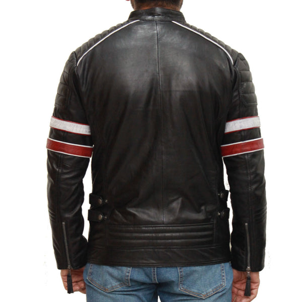 Mens quilted leather racing biker jacket with racing stripe sleeves available in Black and Red