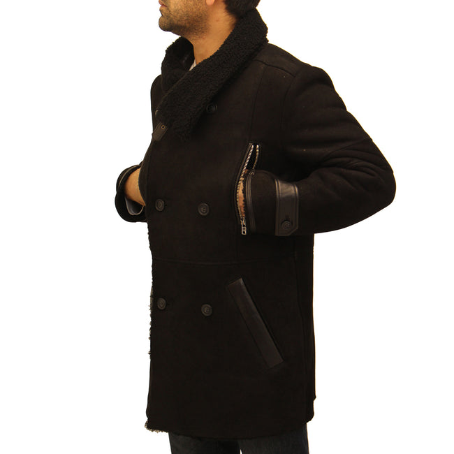 Mens black shearling sheepskin double breasted, big collar trench coat.