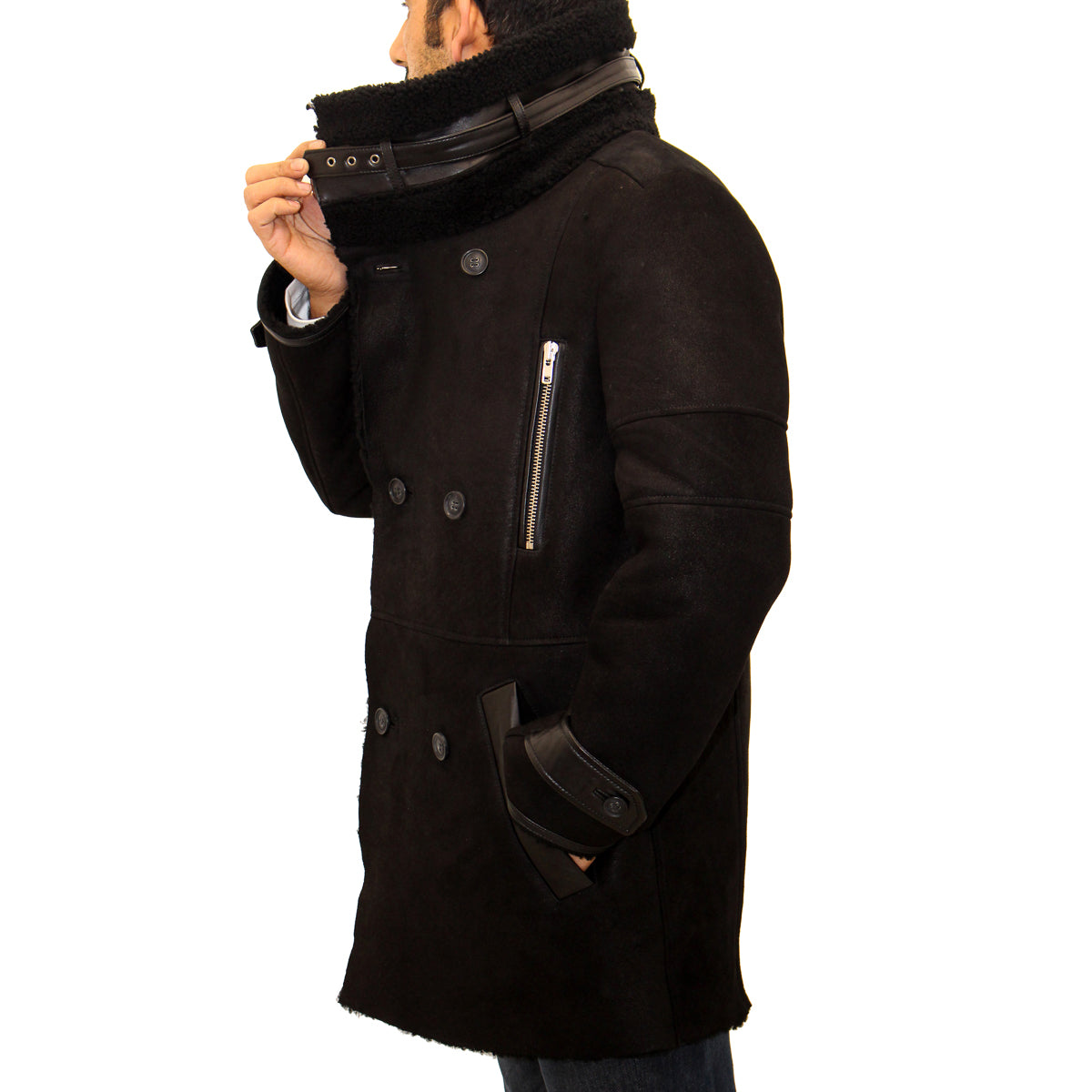 Mens Black Shearling Sheepskin Double Breasted Big Collar Trench