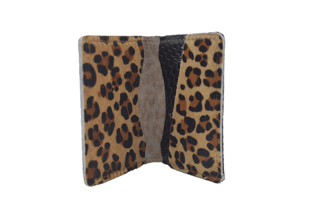 Leopard Cowhide Unisex Handmade Oyster Travel Card Holder Wallet ID in Leather, Cowhide, Nubuck and Suede
