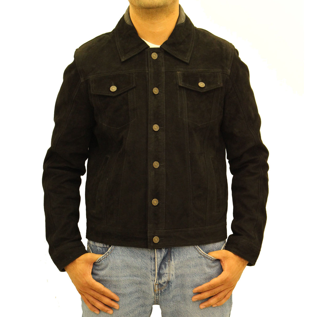 Mens suede smart casual denim jeans style trucker jacket.