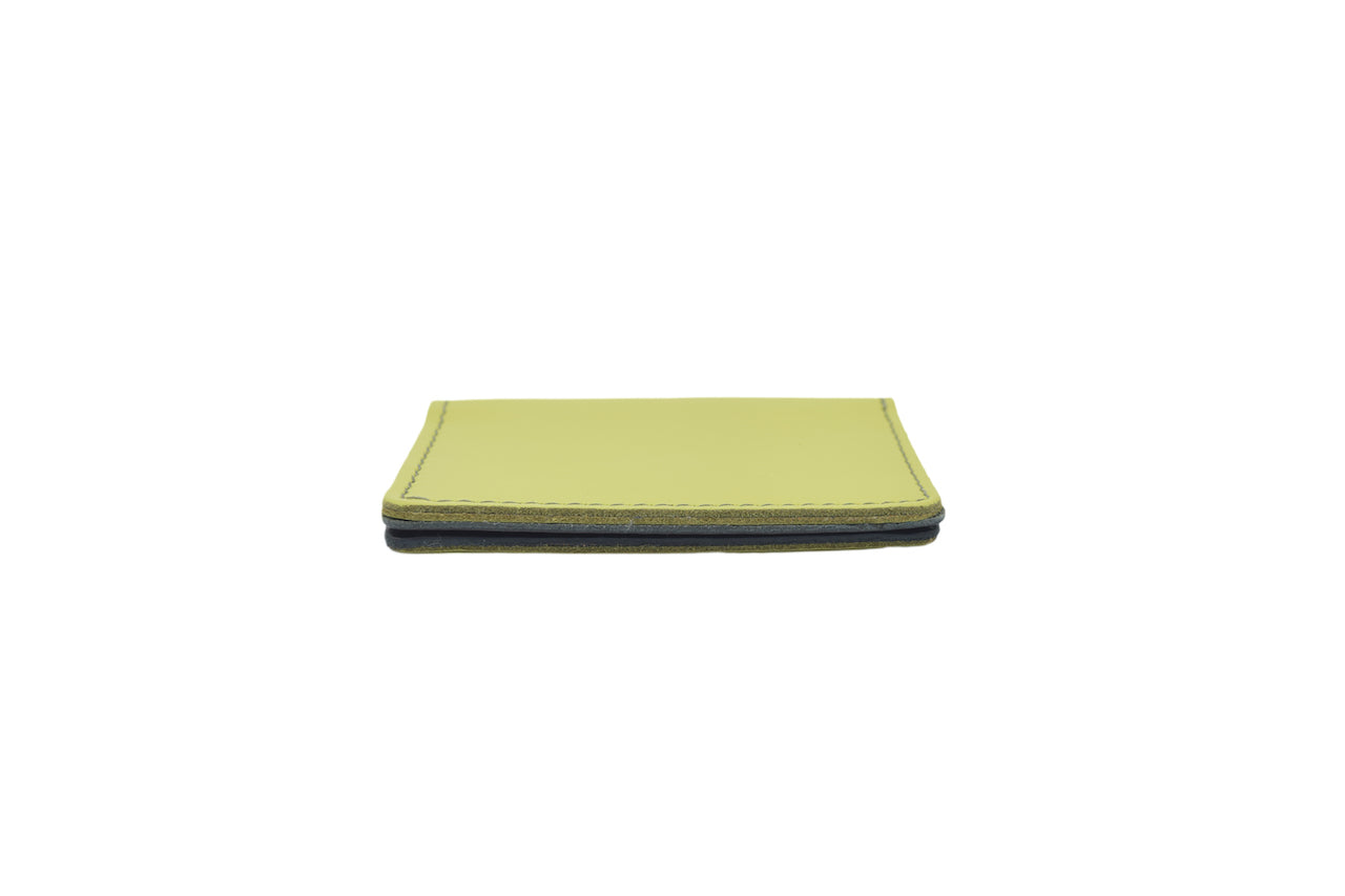 Lime Green Unisex Handmade Oyster Travel Card Holder Wallet ID in Leather, Cowhide, Nubuck and Suede
