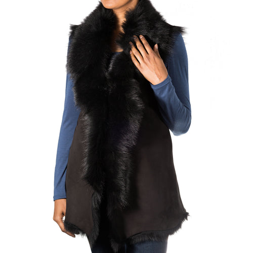 Womens luxuary waterfall style toscana sleeveless body warmer winter long gilets. Available in Suede and Nappa leather finishing.