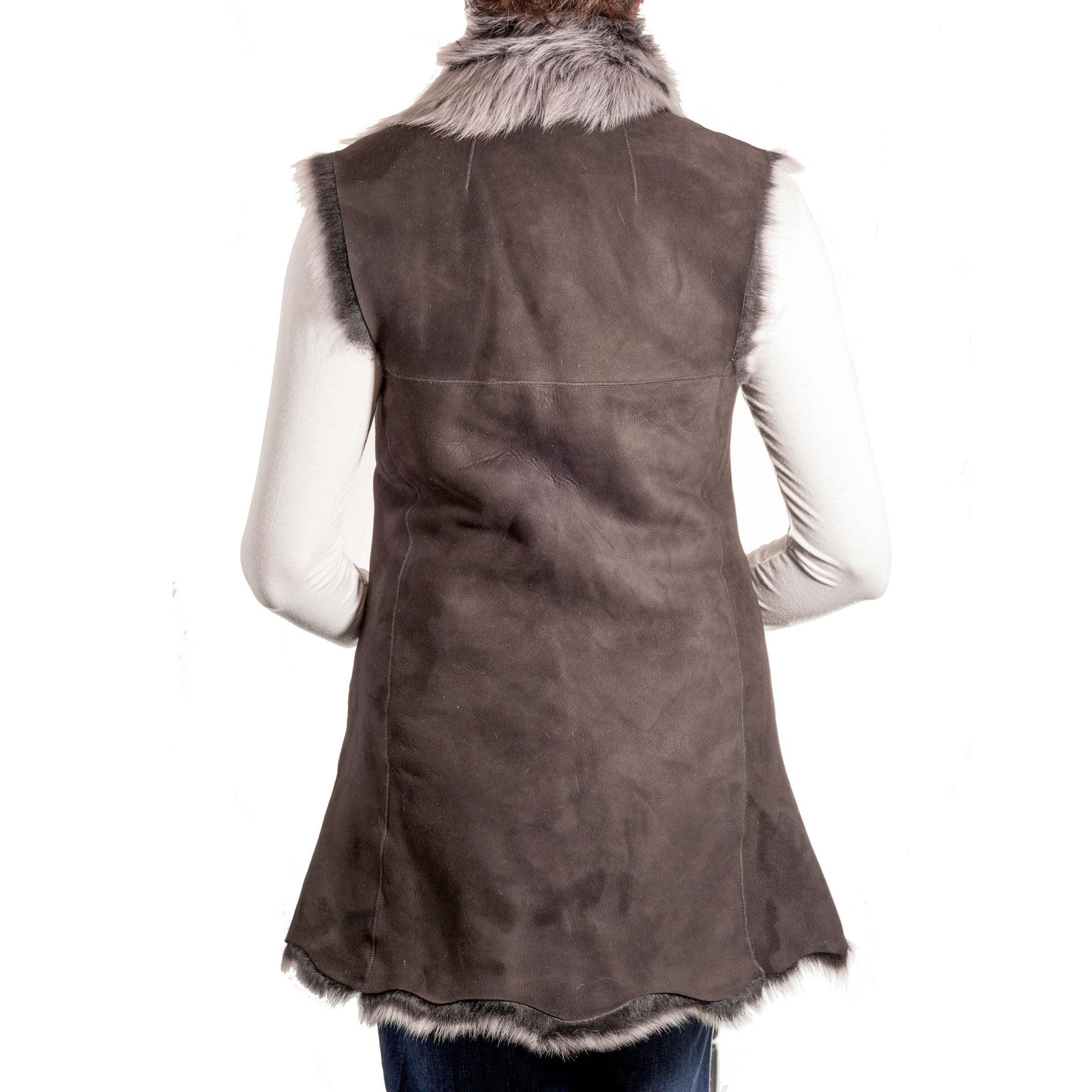 Womens luxury waterfall style toscana sleeveless body warmer winter long gilets. Available in Suede and Nappa leather finishing