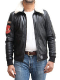 Mens Black Bomber Style Cream Sheepskin Collar Jacket with Sleeve Pocket