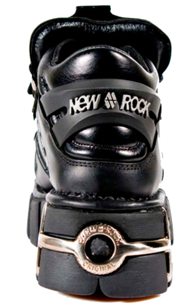 M106-s1 - New Rock Tower Unisex Metallic Black Natural Leather Biker Gothic Boots