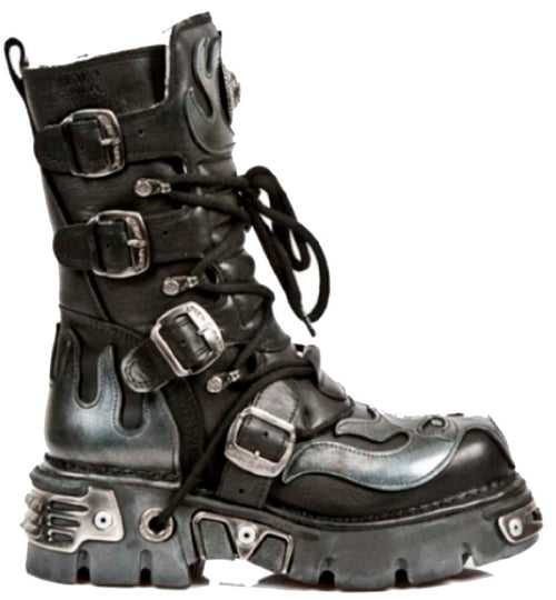 M.107-S2 New Rock Gothic/Punk Unisex Black with Silver Skull Devil and Flames Design Boots