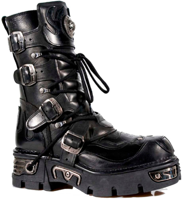 M.107-S3 - New Rock Gothic/Punk Unisex Black with Black Skull Devil and Flames Design Boots