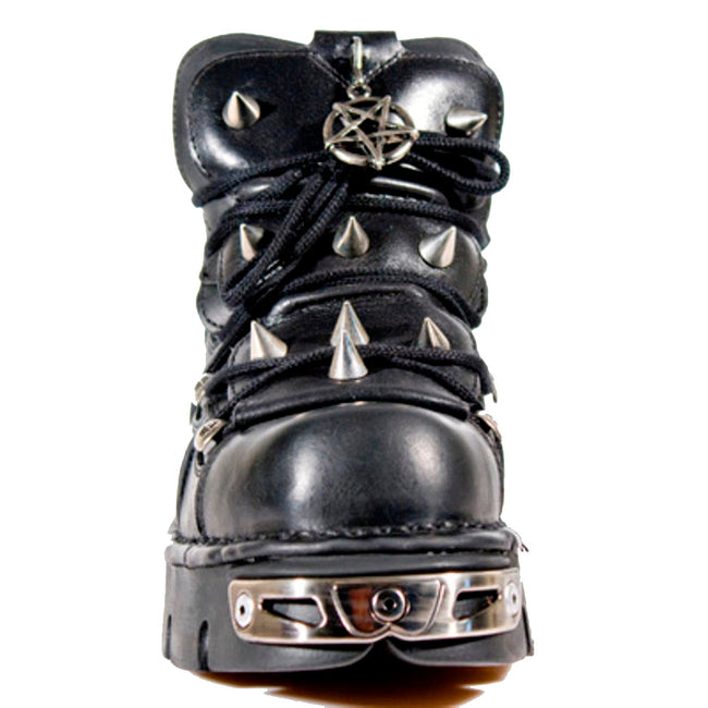 M110-S1 New Rock Unisex Black Leather Lace Up Shoes with a Spike Design and Pentagram Amulet