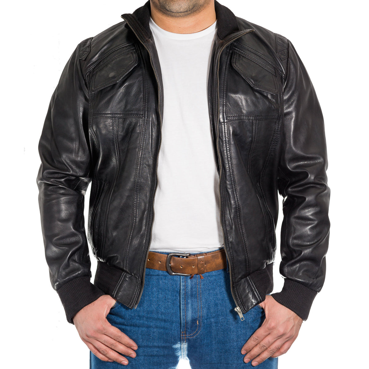 Mens classic bomber jacket with stand collar and rib knit detailing.