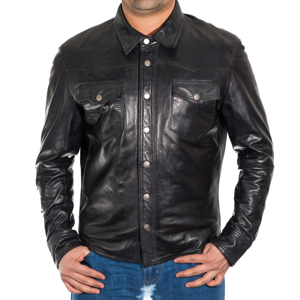 Mens Tan Real Leather Smart Denim Shirt Style Trucker Jacket with Stud Buttons