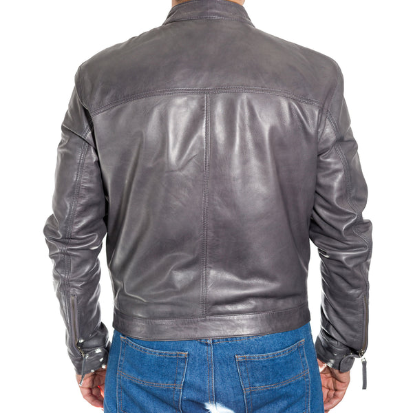 Mens classic stud button tab collar slim fit leather jacket. Available in Black, Brown, Grey & Tan