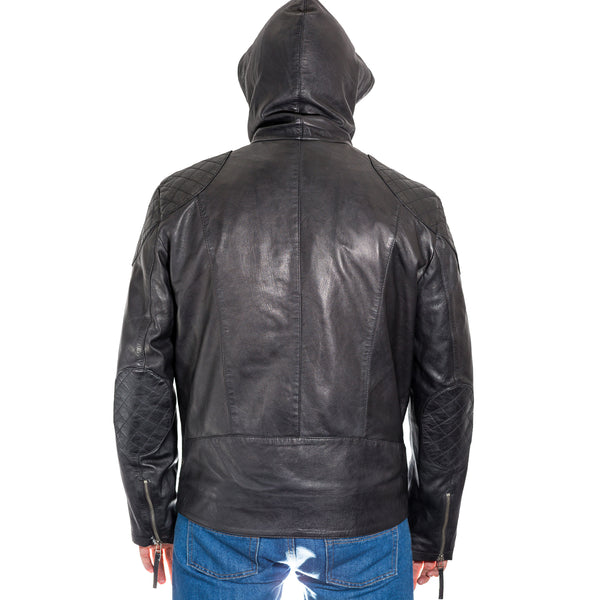 Mens Urban Streetwear leather jacket with hood available in burgundy and black
