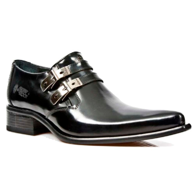M.2246-S20 New Rock Mens Black Real Leather Newman Smart/Formal Shoes