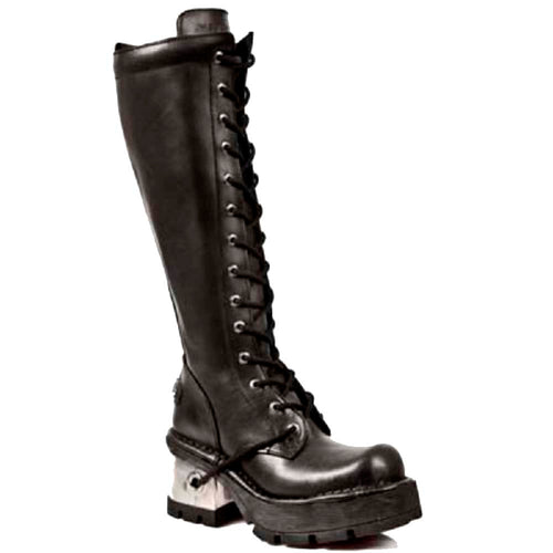 M.236-S1 New Rock Gothic Black Leather Knee Length Lace Up Boots with Hidden Side Zip