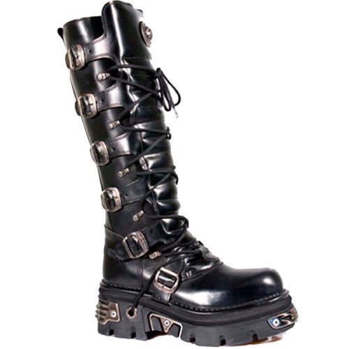 M.272-S1 New Rock Gothic Black Buckled Boots with Reactor Sole and Adjustable Buckles for Comfort