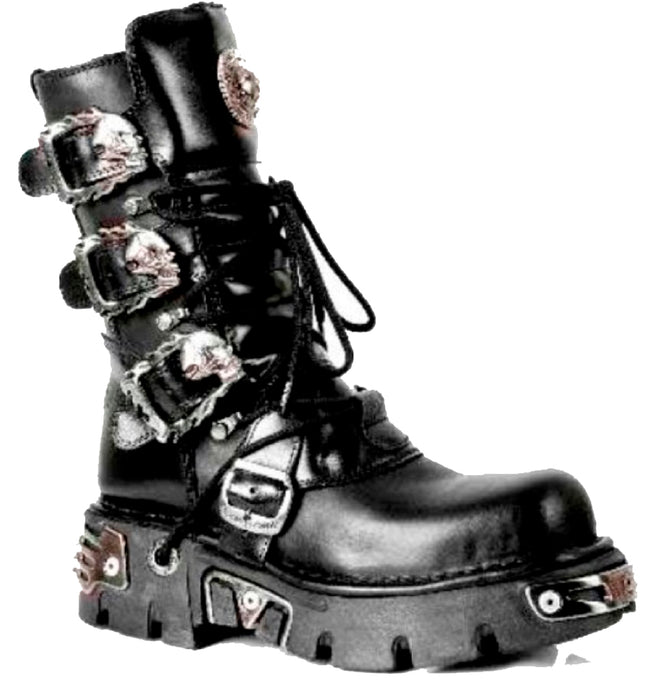 M.391-S1 - New Rock Unisex Black Calf Length Boots with Skull Buckles - Flaming Skull Designs