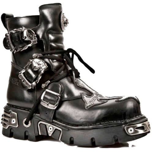 M.407-S1 New Rock Short Black Boots with Silver Cross Detail and Skull Flame Buckles with Side Zip