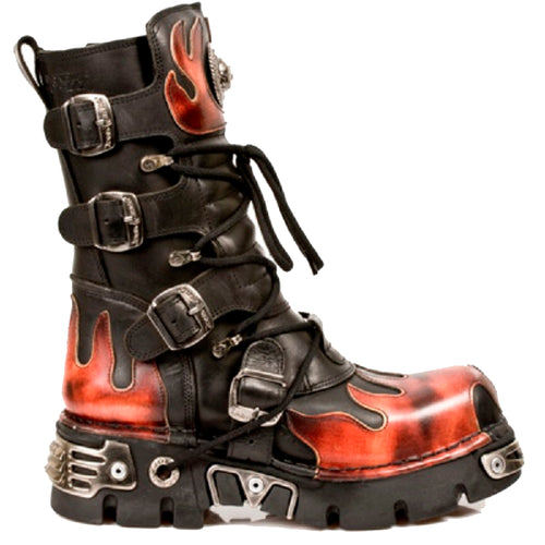 M.591-S1 - New Rock Black Calf Length Boots with Orange/Red Flames and Reactor Soles