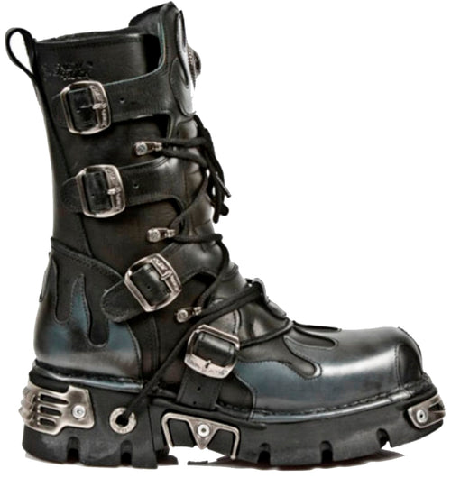 M.591-S2 - New Rock Black Calf Length Boots with Steel Grey Flames and Reactor Soles