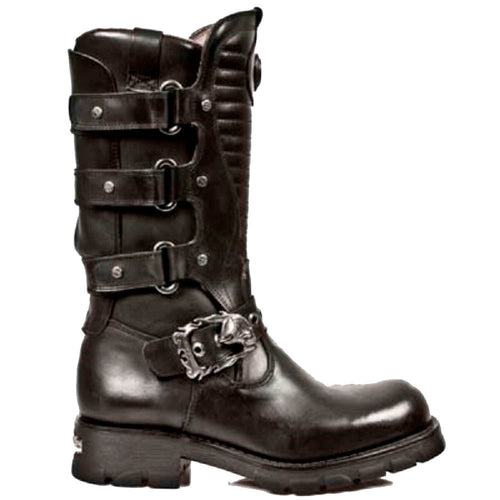 M.7604-S1 New Rock Black Leather Boots with Straps and a Skull Buckle Strap and Ribbed Tounge